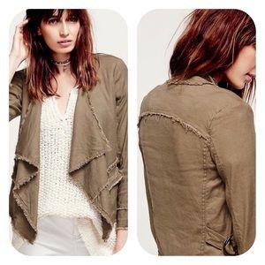 Free People Brown Raw Femme Draped Linen Jacket M